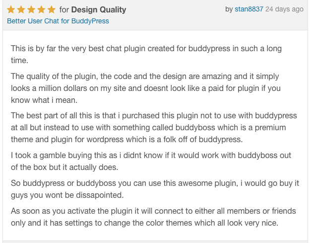 Better user chat for BuddyPress reviews