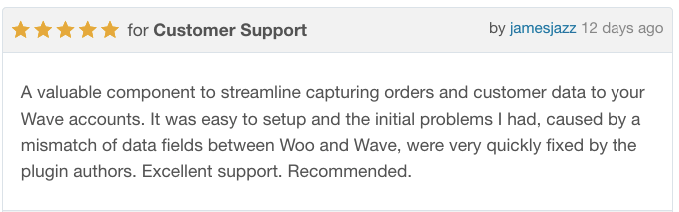 WooCommerce Wave Connector five star review